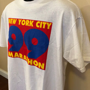 Vintage Shirts - 1999 New York City Marathon Tee Shirt 90s Race Run